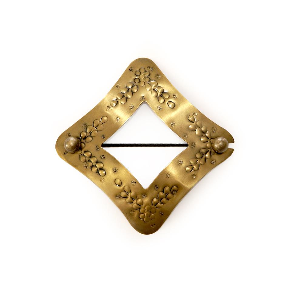 Gardinia Dekoračná sponka Kosoštvorec zlatá, 10 x 10 cm,
