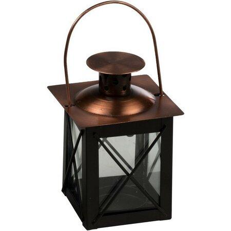 Kovový lampáš čierna, 10 cm