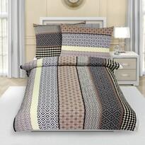 Lenjerie de pat, din crep, Dungi bej, 140 x 200 cm, 70 x 90 cm