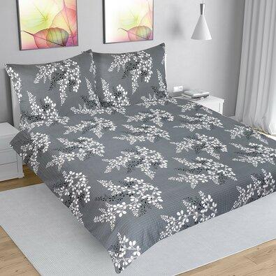 Krepové povlečení Větvička šedá, 200 x 220 cm, 2 ks 70 x 90 cm