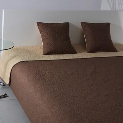 Přehoz na postel Casaro tmavě hnědá a béžová, 220 x 240 cm