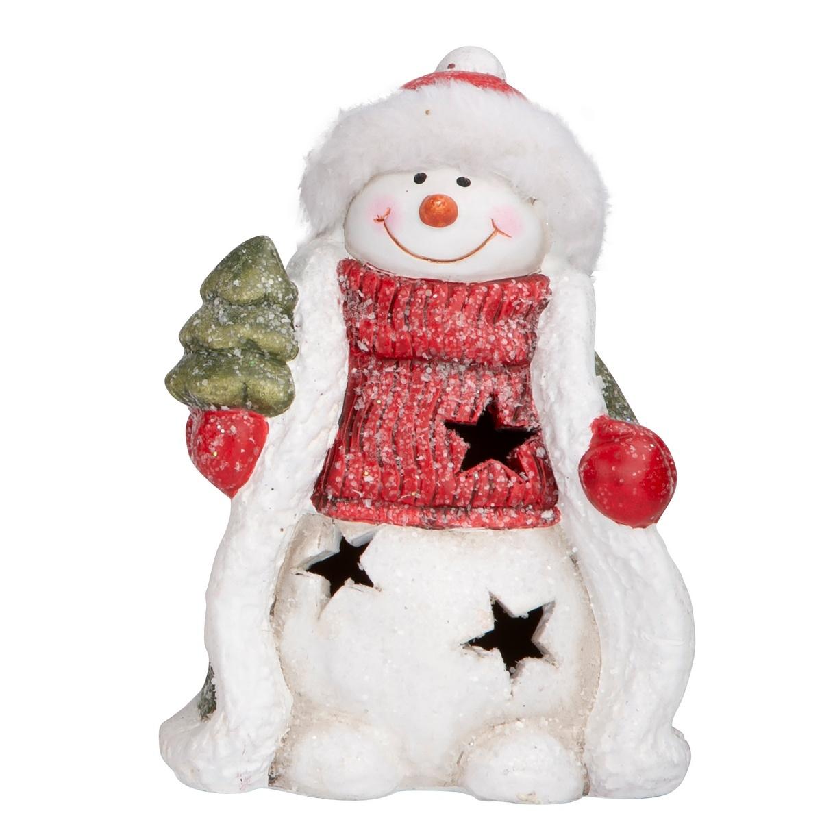 Altom LED dekorace Sněhulák se stromkem, 15 cm