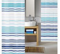 Textilní sprchový závěs Vlnky, tyrkysová