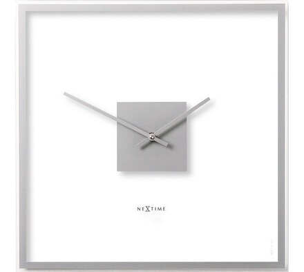 Hodiny Nextime Sguare Easy Silver, 40x40 cm