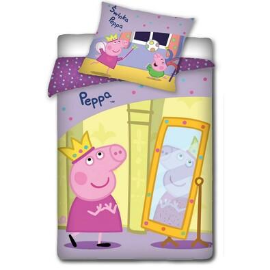 Dětské bavlněné povlečení Peppa Pig - Pepina v zrcadle, 140 x 200 cm, 70 x 80 cm