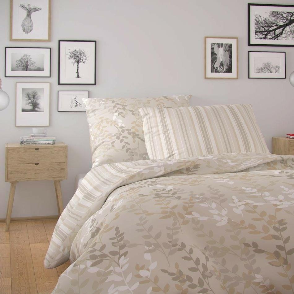 Kvalitex Bavlněné povlečení Nordic Astrid smetanová, 140 x 220 cm, 70 x 90 cm