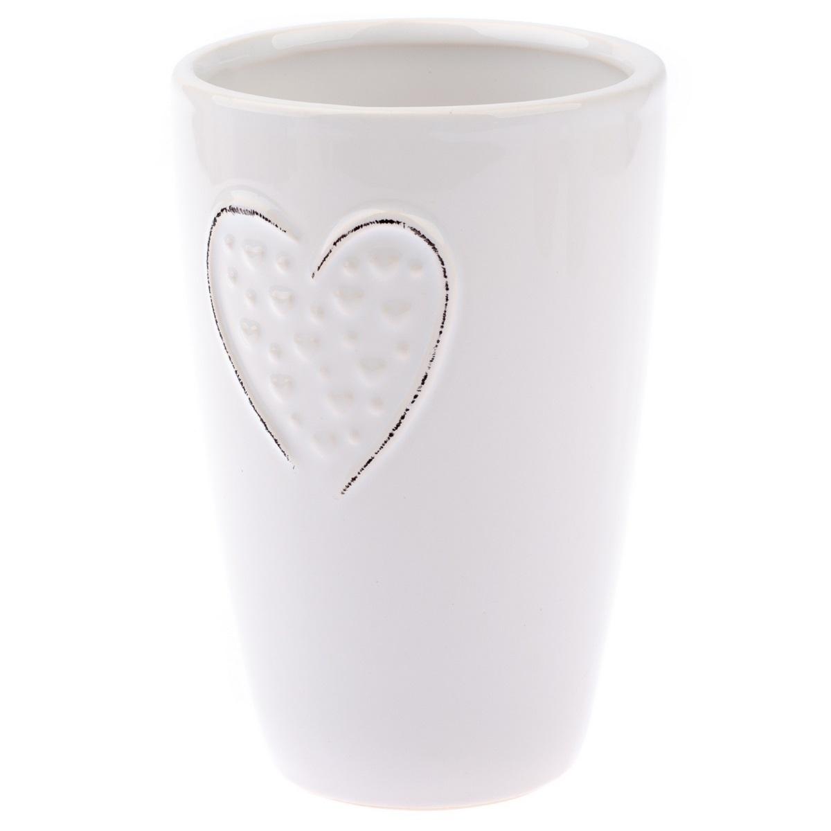 Keramická váza Little hearts bílá, 14,5 cm