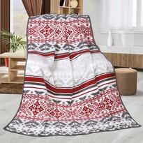 Pătură Karmela Plus Retro roșu cu gri, 150 x 200 cm