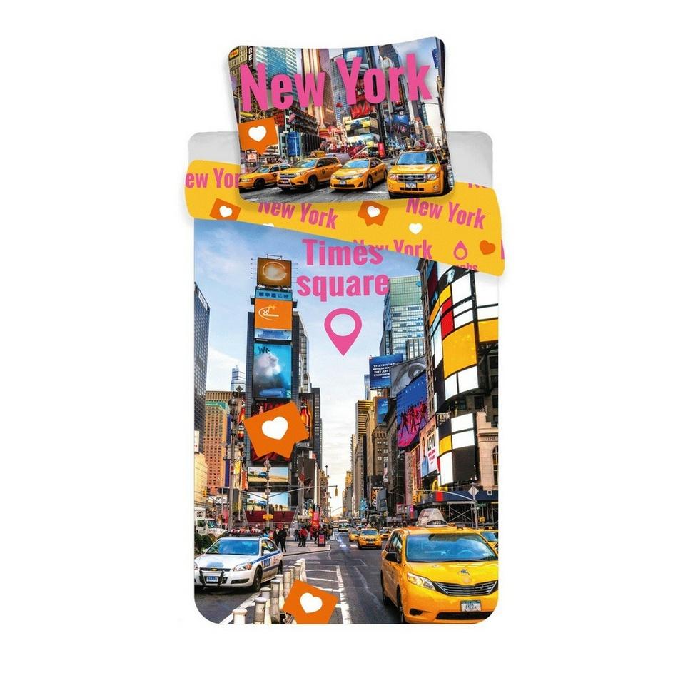 Jerry Fabrics Bavlněné povlečení Times Square, 140 x 200 cm, 70 x 90 cm