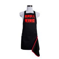Šik v kuchyni Pánská zástěra s otvírákem Grill King červená, 22,5 x 75 cm