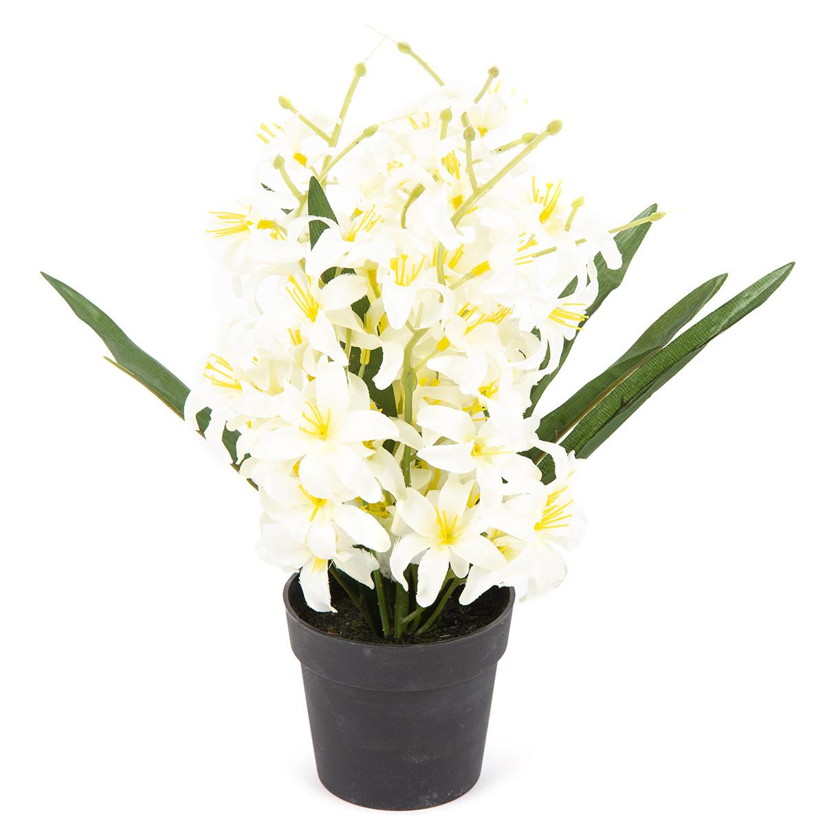Floare artificiala Crin, in ghiveci, alb, 30 cm