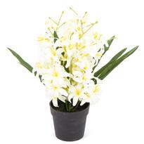 Floare artificială Crin, în ghiveci, alb, 30 cm