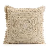 Poduszka - jasiek pleciona Gita beżowa 40 x 40 cm