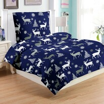 Obliečky mikroplyš Jeleň modrá, 140 x 200 cm, 70 x 90 cm
