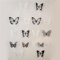 Fluturaşi autoadezivi 3D alb-negru, 18 buc