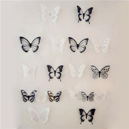Samolepicí 3D motýlci černo-bílá, 18 ks