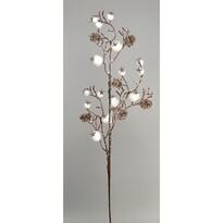 Csipkebogyó karácsonyi ág, fehér, 65 cm