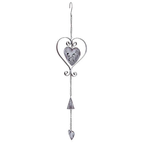 Závěsná kovová dekorace srdce, fialová