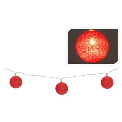Světelný LED řetěz červené kouličky