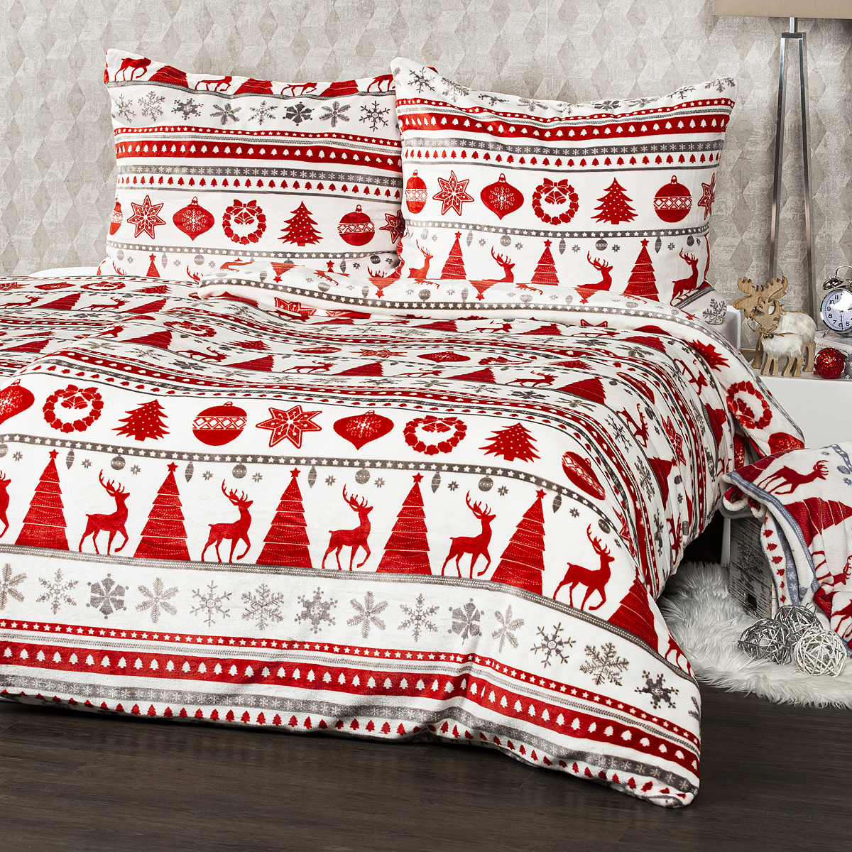 4Home Christmas Time mikroflanel ágynemű, piros, 140 x 200 cm, 70 x 90 cm, 140 x 220 cm, 70 x 90 cm