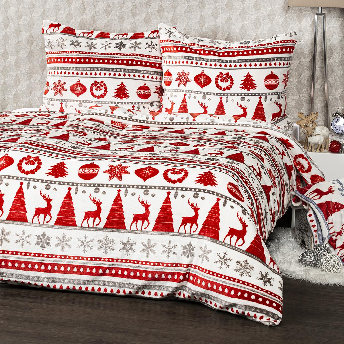4Home Povlečení mikroflanel Christmas Time červená, 140 x 220 cm, 70 x 90 cm