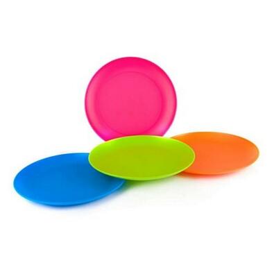 4dílná sada mělkých plastových talířů