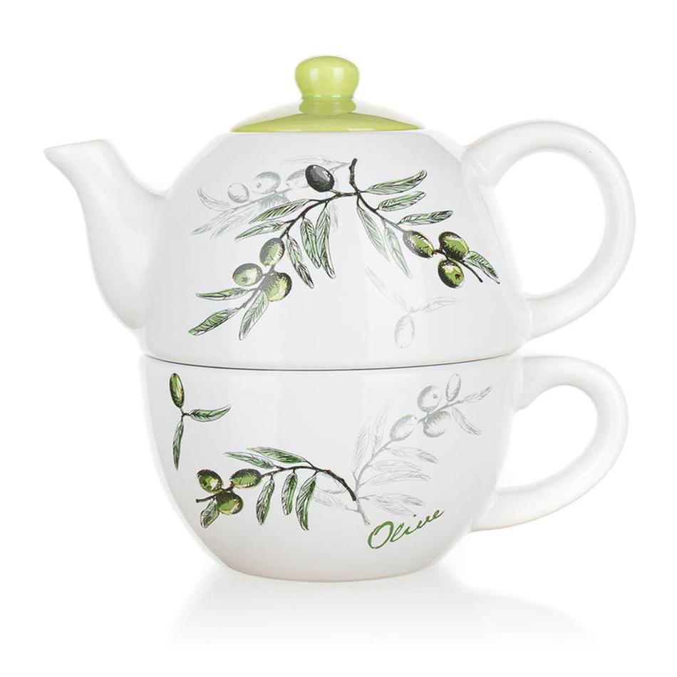 Banquet Czajnik ceramiczny z filiżanką Olives
