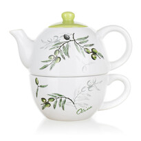 Ceainic ceramic cu ceașcă Banquet Olives