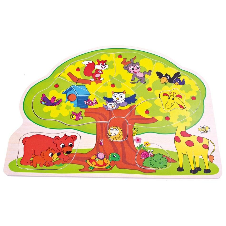 Bino dřevěné puzzle Veselá zvířátka