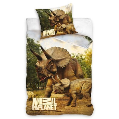 Bavlněné povlečení Animal Planet - Triceratops, 140 x 200 cm, 70 x 80 cm