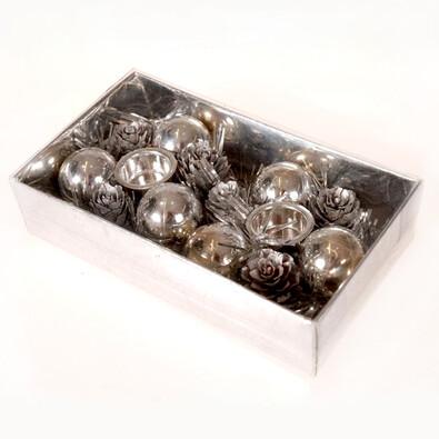 Svícen věneček se šiškami, stříbrný, pr. 7 cm, stříbrná
