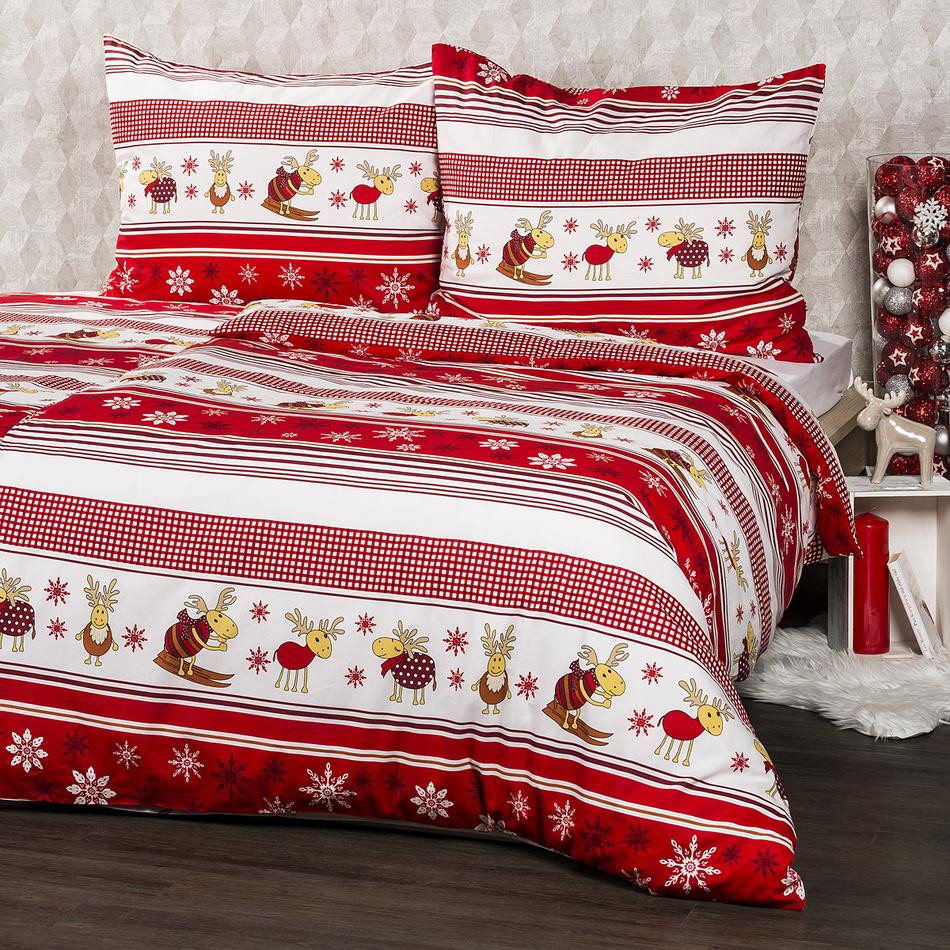 Lenjerie pat din flanelă 4Home Renii roșu, 160 x 200 cm, 70 x 80 cm imagine