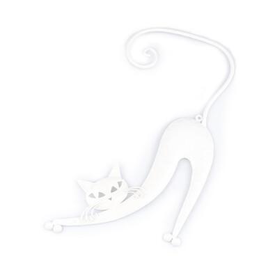 Kovová kočka na zeď bílá