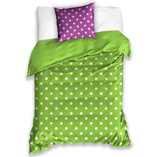 Bavlněné povlečení Puntík zelená, 140 x 200 cm, 70 x 90 cm