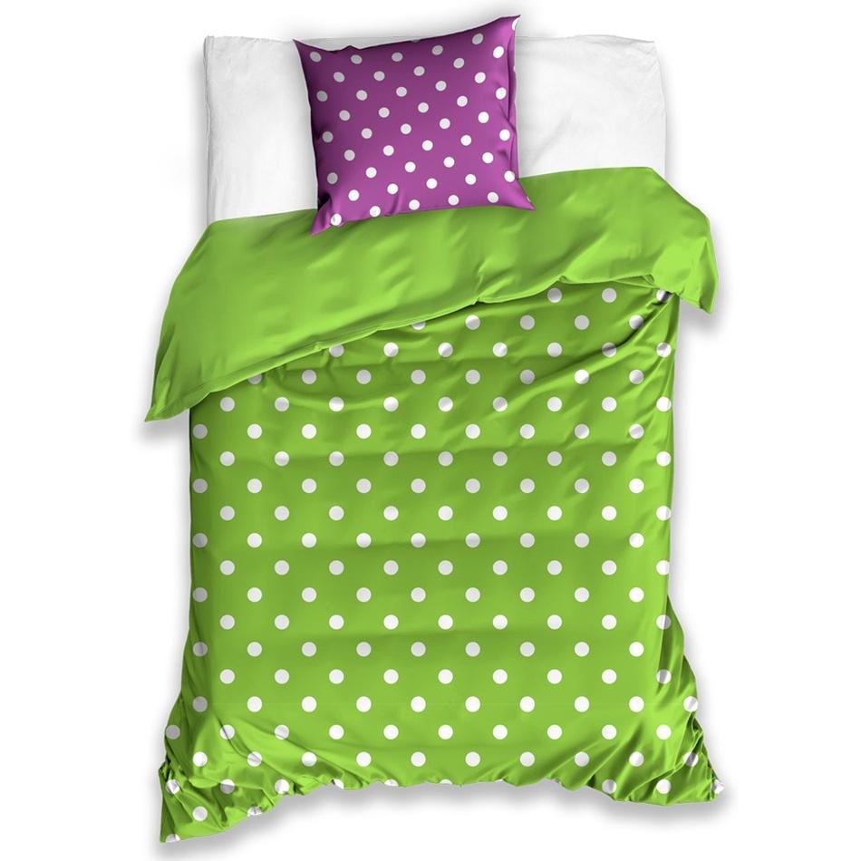 BedTex Bavlněné povlečení Puntík zelená, 140 x 200 cm, 70 x 90 cm