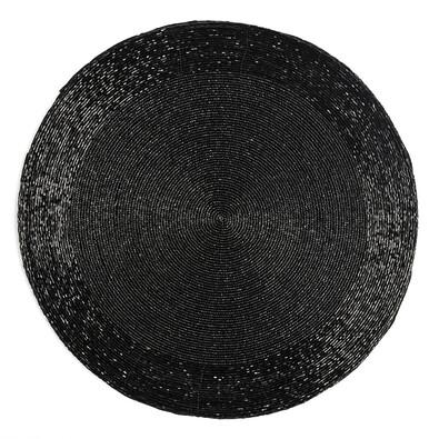 Prostírání z korálků Bead černá, 35 cm