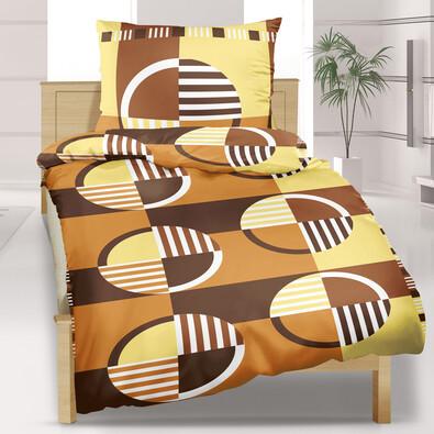 Lenjerie pat 1 pers. Roţi maro, creponată, 140 x 200 cm, 70 x 90 cm
