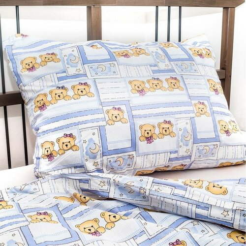 Dětské povlečení Medvídek modrá, 140 x 200 cm, 70 x 90 cm