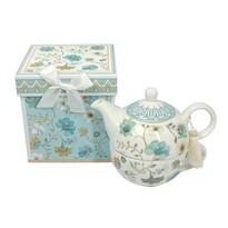 Porcelanowy dzbanek na herbatę z filiżanką Niebieskie kwiaty w pudełku prezentowym