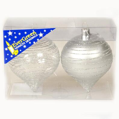 Ozdoba Cibule třpytivé proužky, stříbrná,  8 cm, stříbrná