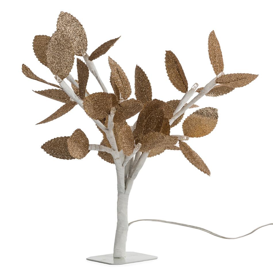 Svítící stromeček se zlatými lístky, 20 LED, v. 25 cm