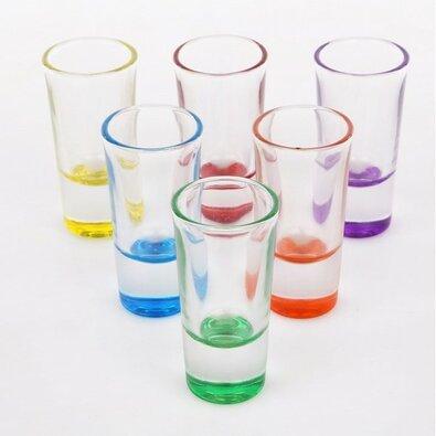 Altom 6-dielna sada poldecákov na vodku 25 ml, farebné dno
