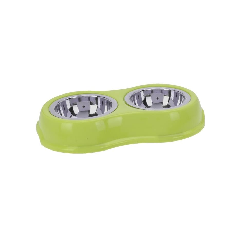 Dvojitá miska pro psa, zelená