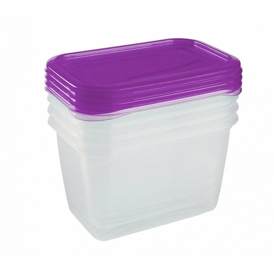 Keeeper Set dóz na potraviny vhodné do mrazničky Fredo Fresh, fialová 4x0,75L