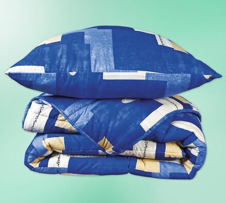 Set přikrývky a polštáře Modrý list, 140 x 200 cm,
