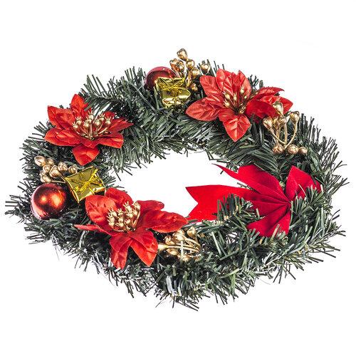 Vánoční věnec s poinsetií 25 cm, červená