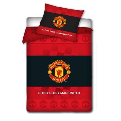 Bavlněné povlečení Manchester United s erbem, 140 x 200 cm, 70 x 80 cm