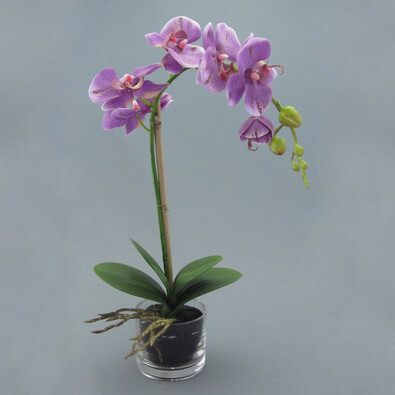 Umělá květina orchidej v květináči fialová