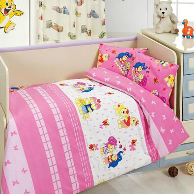 Dětské bavlněné povlečení medvídek růžová, 100 x 135 cm, 40 x 60 cm