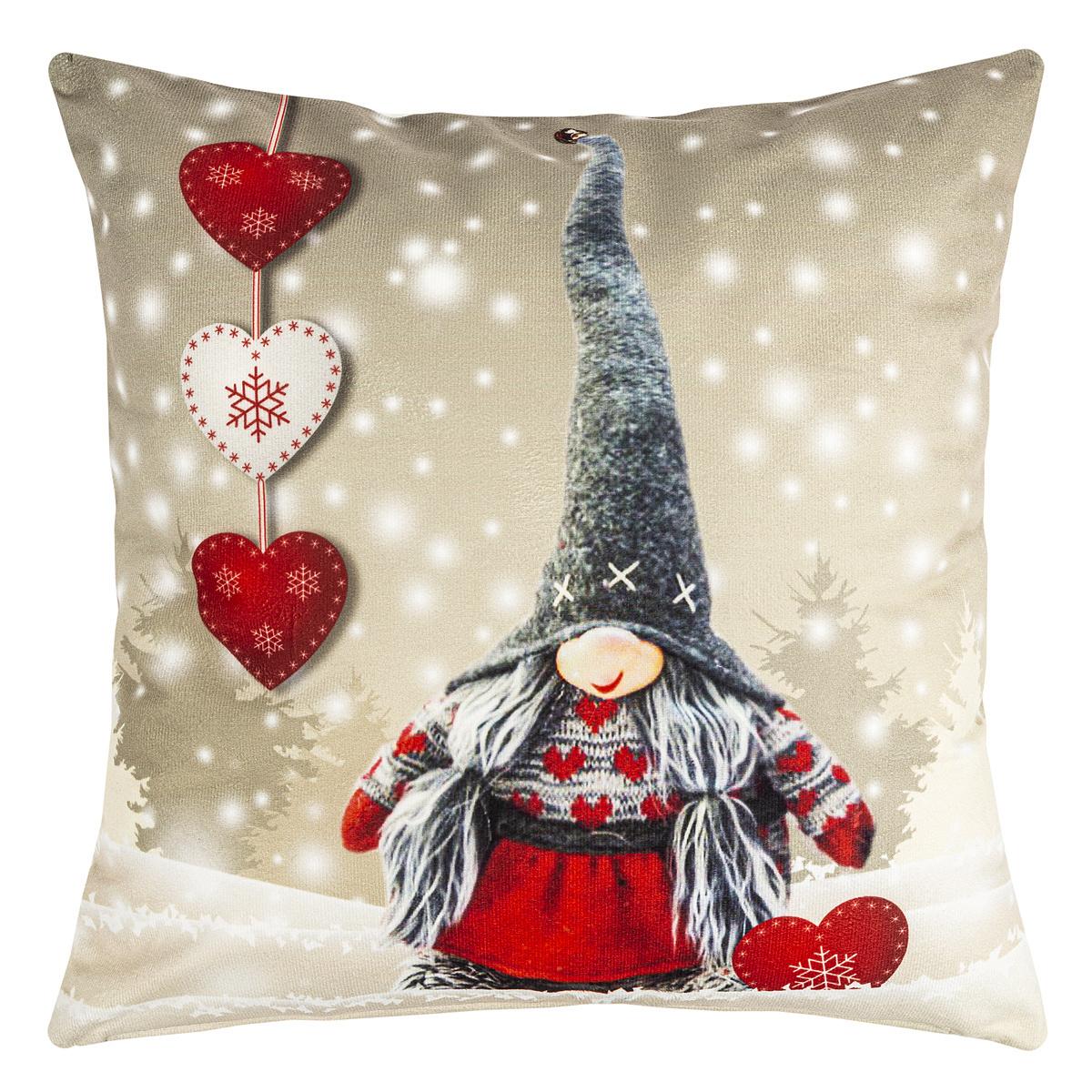 BO-MA Trading Vánoční povlak na polštářek Srdce, 40 x 40 cm